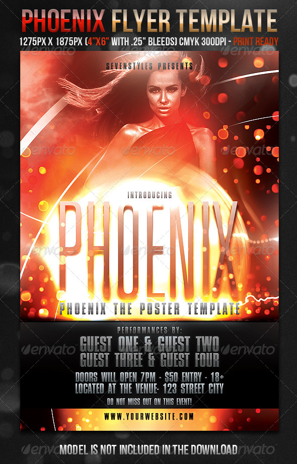 Phoenix Flyer Template - Clubs & Parties Events