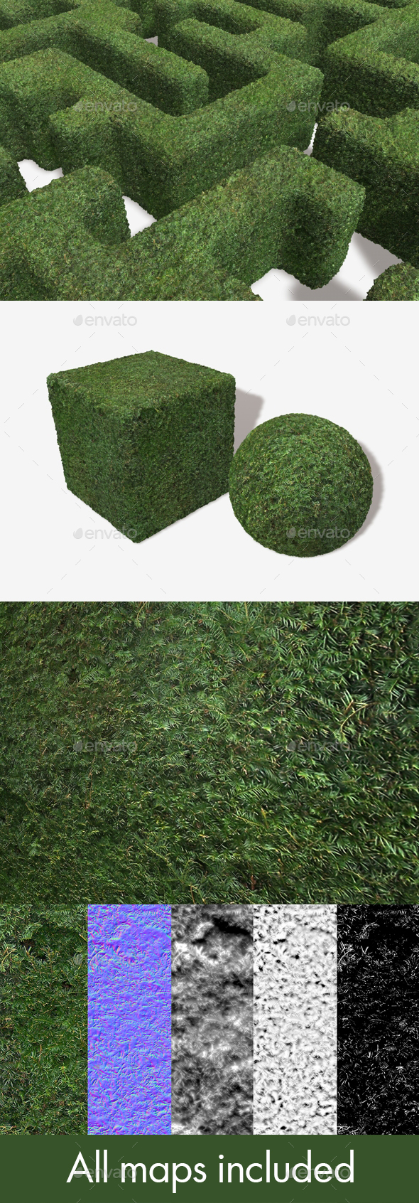 Cut Maze Hedge Seamless Texture - 3DOcean Item for Sale