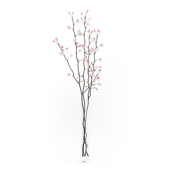 Flowering Tree Twigs in Glass Vase - 3DOcean Item for Sale