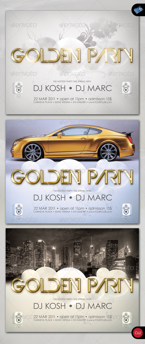 GraphicRiver Music & Event Flyer Golden Party 160883