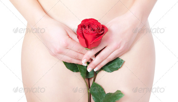 Beautiful blond nude woman with rose - Stock Photo - Images