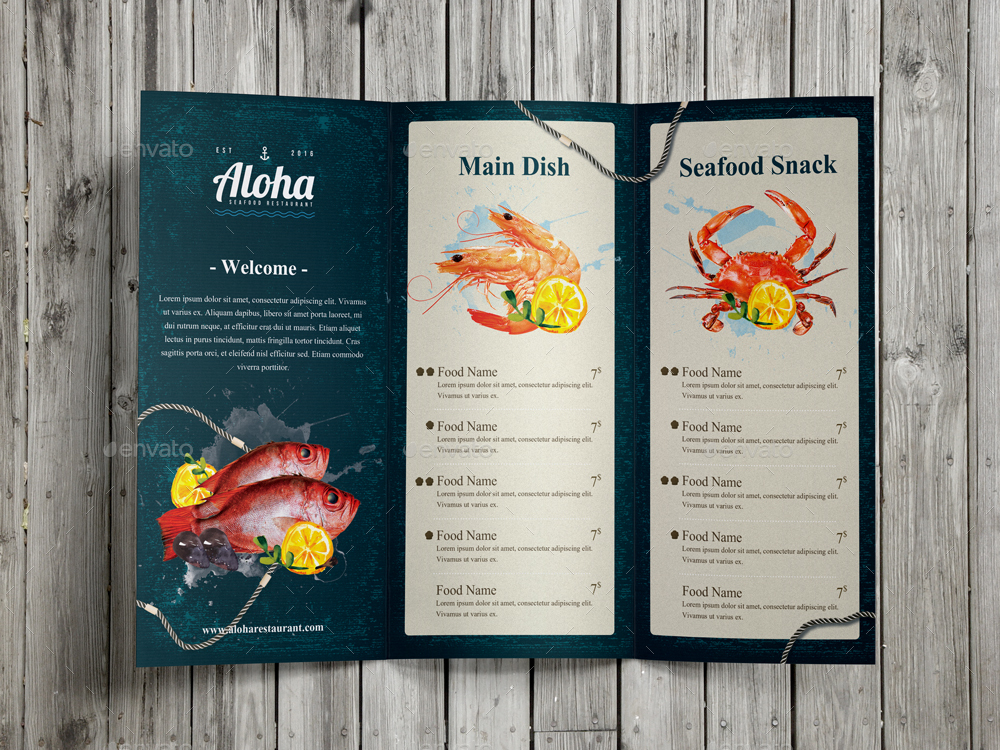 Seafood Menu Package By Monogrph Graphicriver