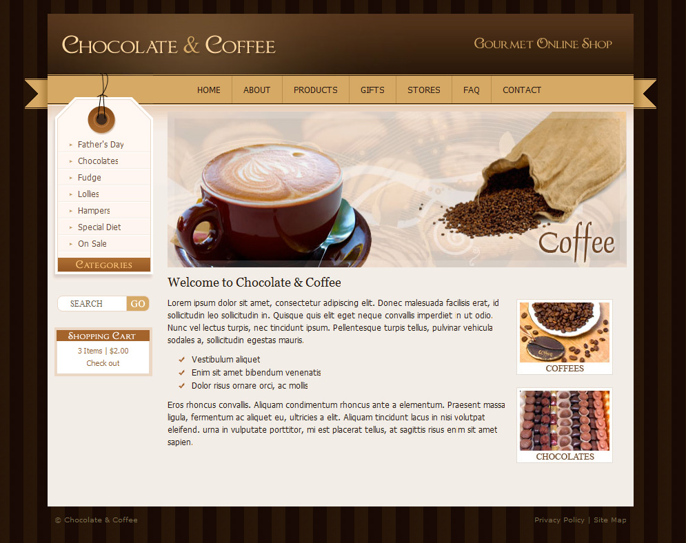 chocolate coffee cupcakes html by dtbaker themeforest. Black Bedroom Furniture Sets. Home Design Ideas