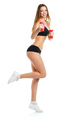 Happy athletic woman with dumbbells doing sport exercise, isolat