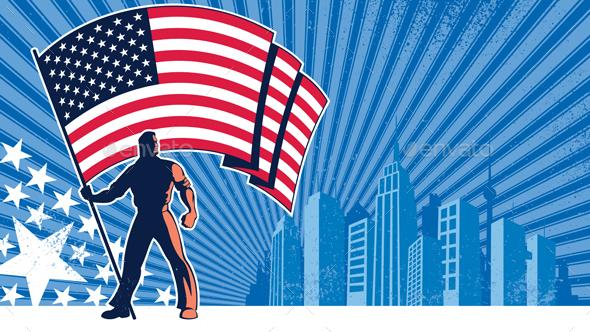 Flag Bearer USA Background
