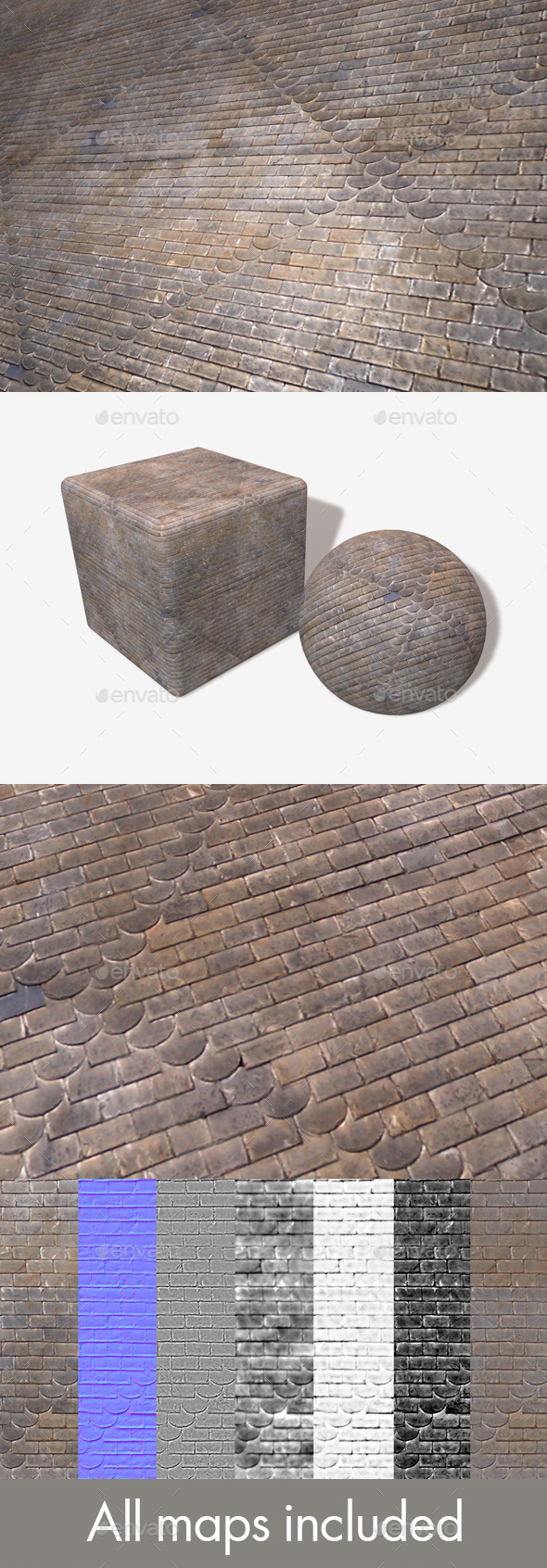 Patterned Roof Tiles Seamless Texture - 3DOcean Item for Sale