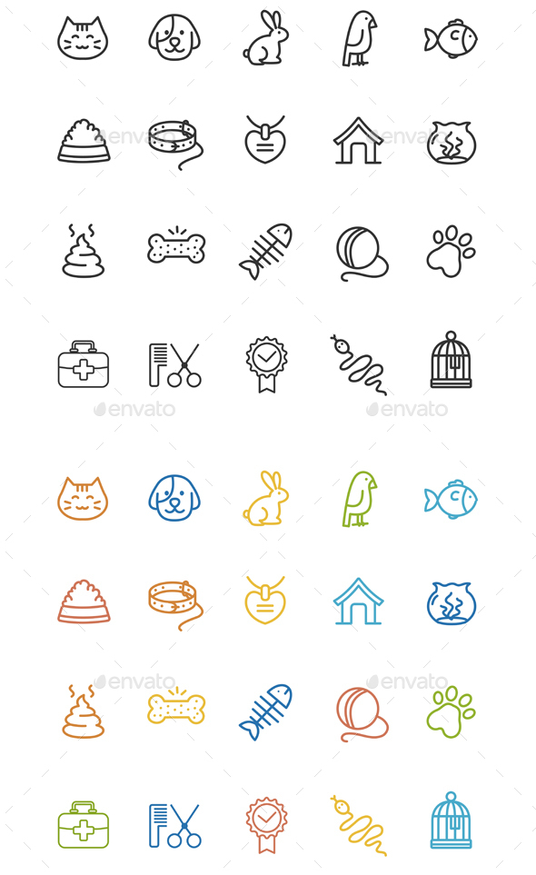 Pet Outline Icon Set