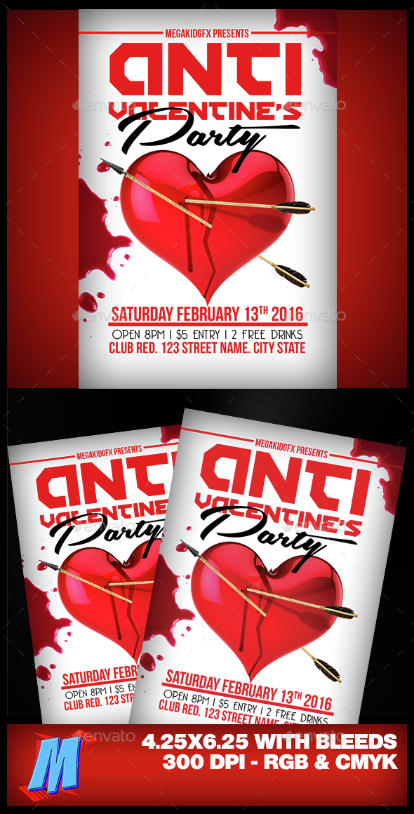 Anti Valentines Party Flyer Template