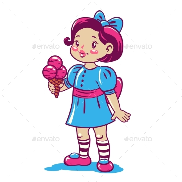 Cartoon Little Girl with Ice Cream