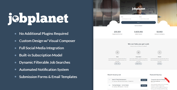 22 - Jobplanet - Responsive Job Board WordPress Themes