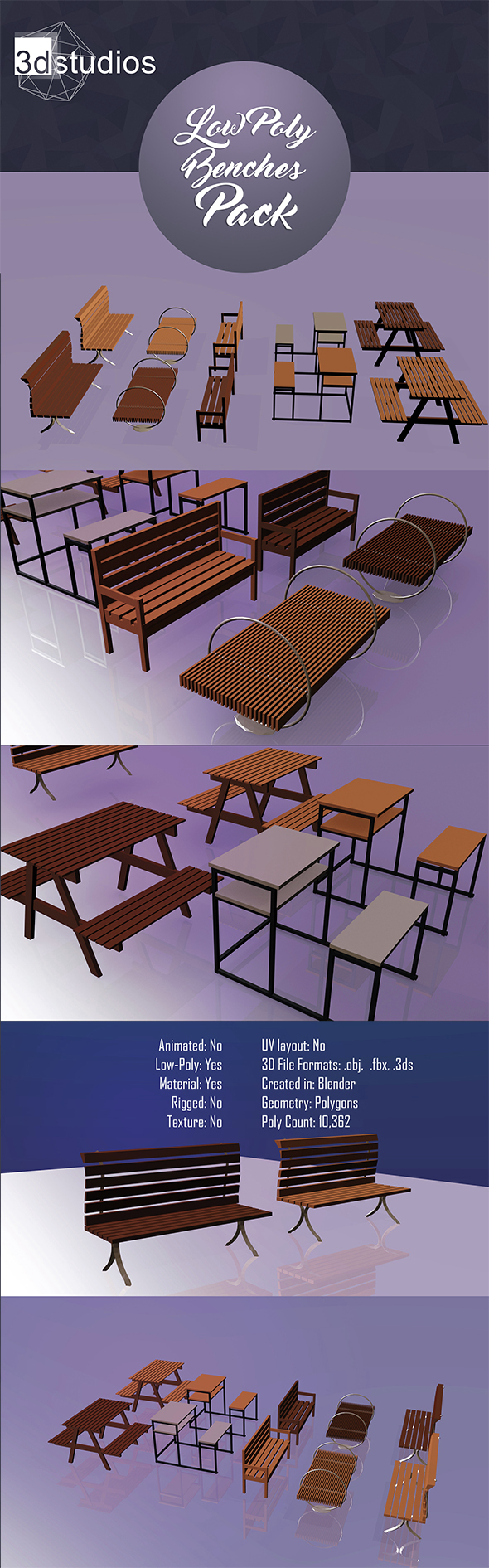 Low Poly Benches Pack - 3DOcean Item for Sale