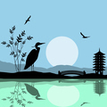 Heron silhouette on river