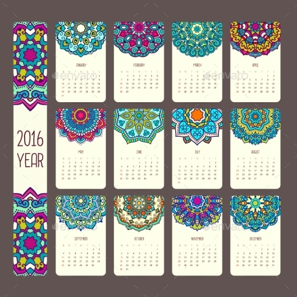 Calendar 2016 with Mandalas