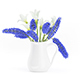 Blue and White Flowers in White Pot