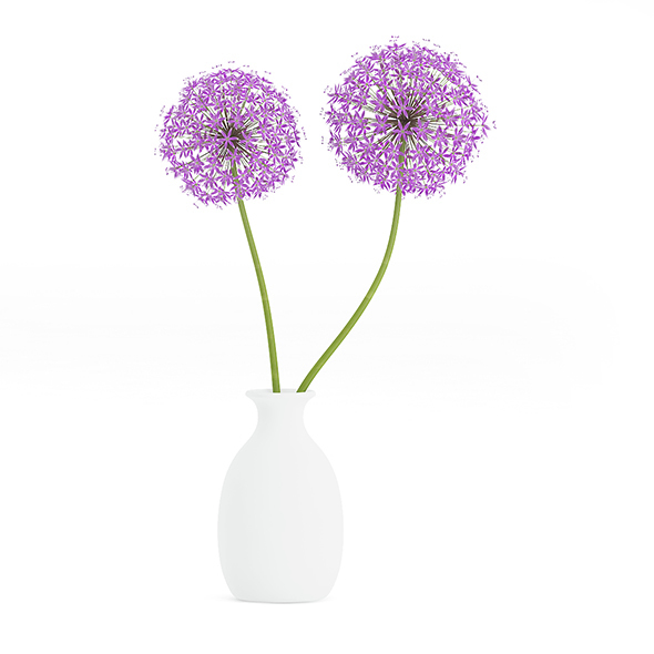 Small Purple Flowers in White Vase - 3DOcean Item for Sale