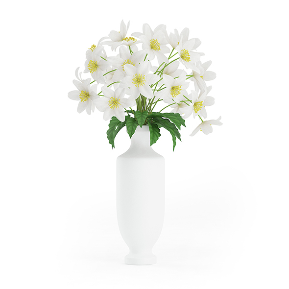 White Flowers in Tall Vase - 3DOcean Item for Sale