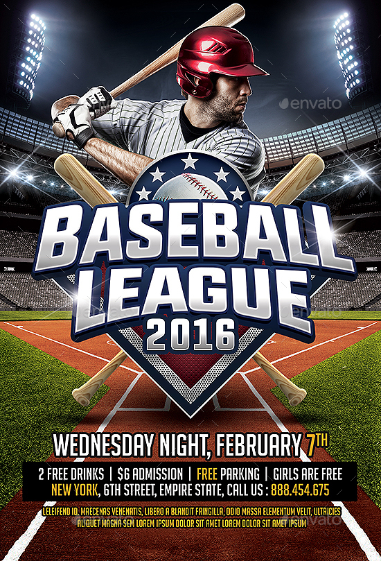 Baseball League Flyer Template by SmashingFlyers – Baseball Flyer