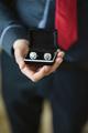 Steel Cufflinks with black box for groom