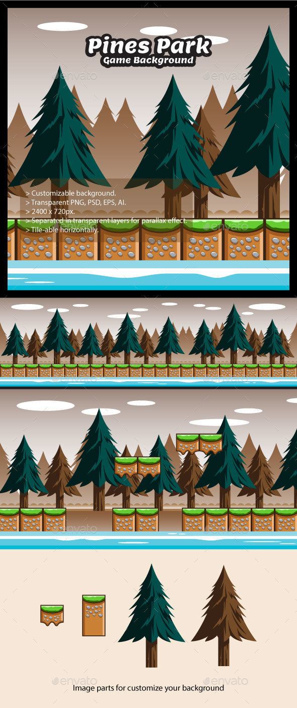 Pines Park Game Background with Tiles (Backgrounds)