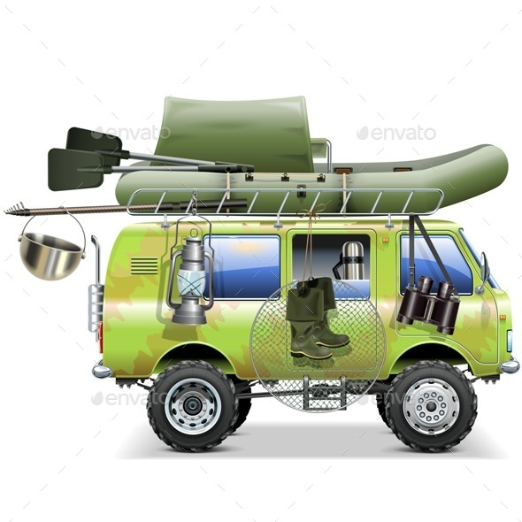 Vector Travel Car with Fishing Accessories