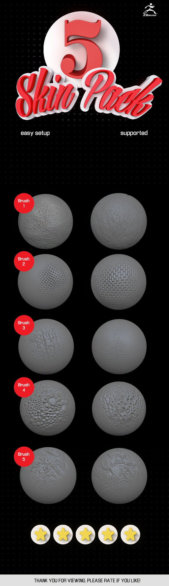 5 Skin brush pack ZBrush vol.1