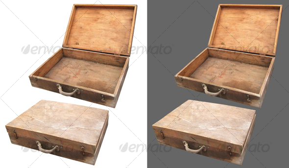 Grungy wooden suitcase