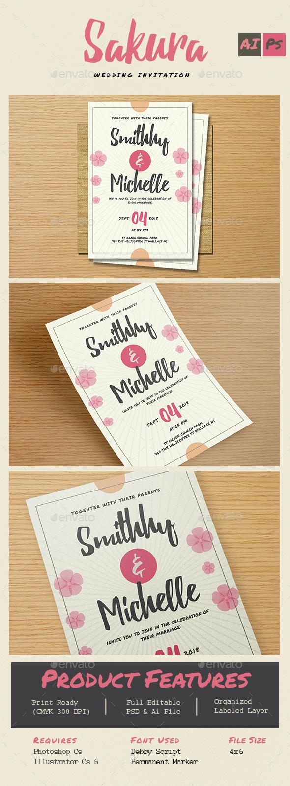 Sakura Wedding Flower Invitation