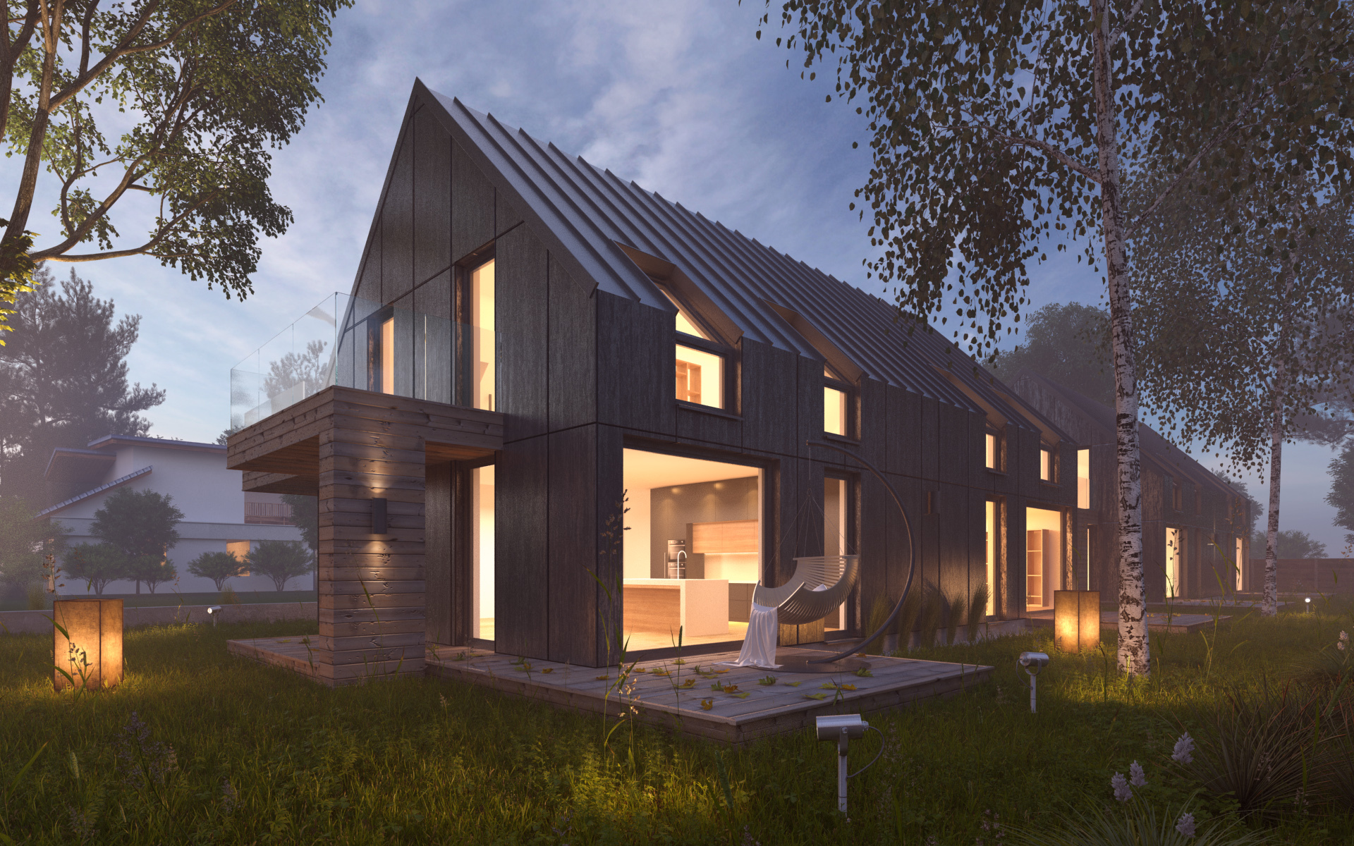 Vray Night Scene Rendering Modern House By Visualcg 3docean
