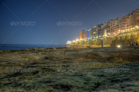 View of the Sliema front at night - Stock Photo - Images