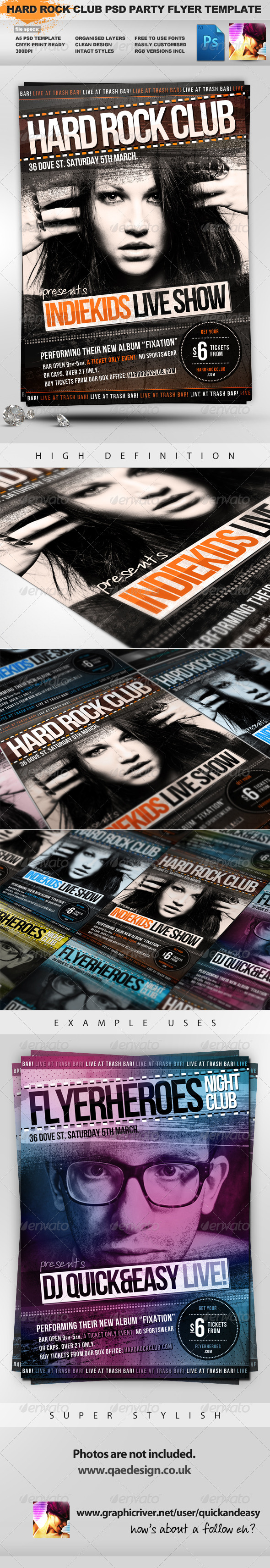 Indiekids - Hard Rock Indie Club PSD Party Flyer - Clubs & Parties Events