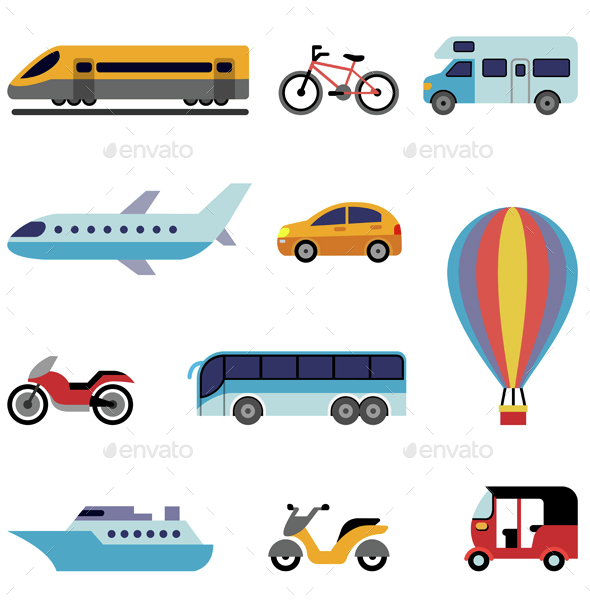 Colorful Flat Transport Icons