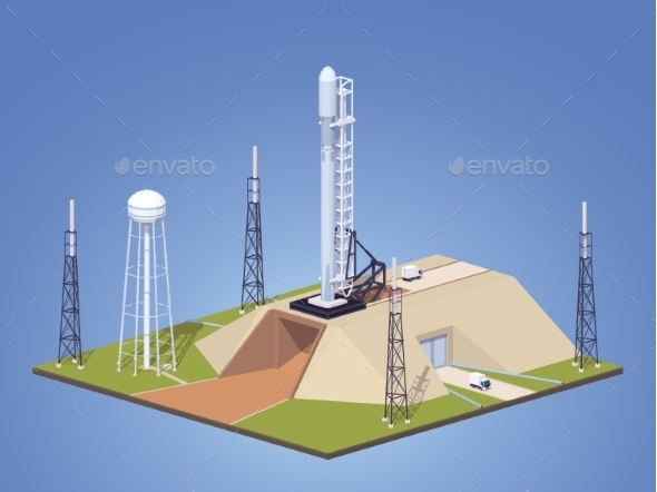 Modern Space Rocket on Launch Pad