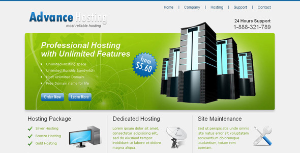 ThemeForest Advance Hosting Web Hosting Template 58149