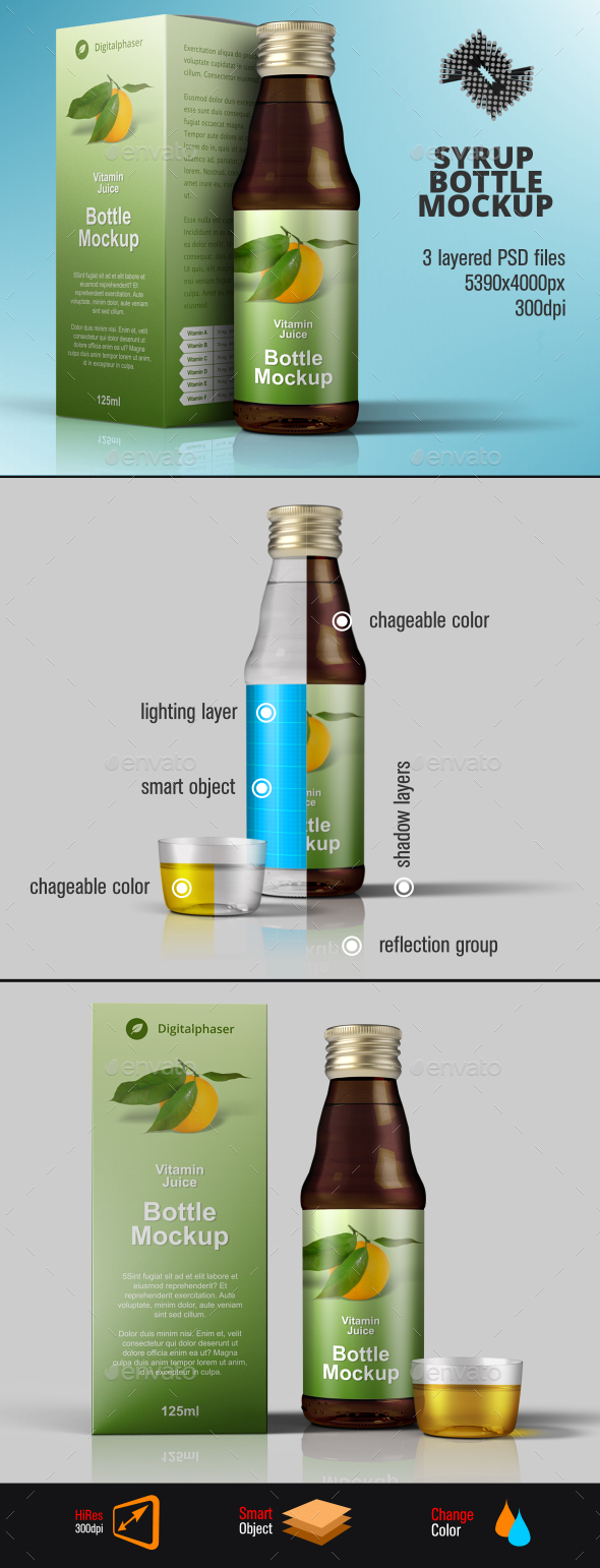 Medicine Syrup / Juice Packaging Mockup