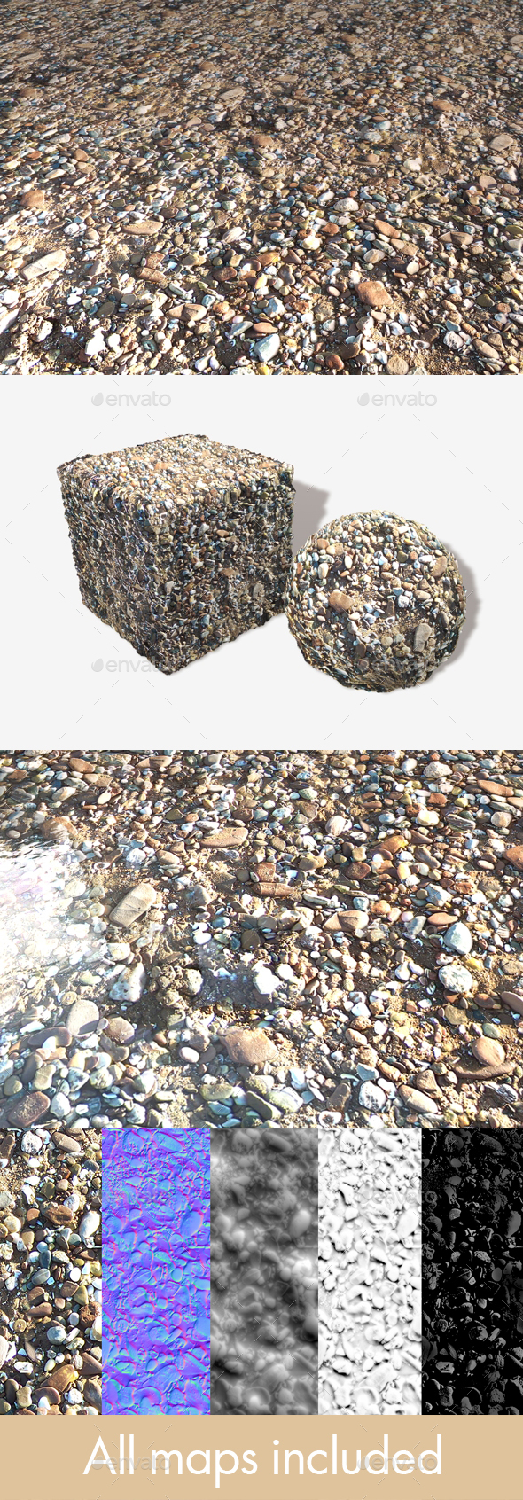 Stony Beach 03 Seamless Texture - 3DOcean Item for Sale