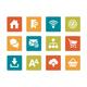 Icon set - vibrant square - Web