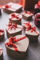 Gift boxes heart. The concept of celebrating Valentine's Day.