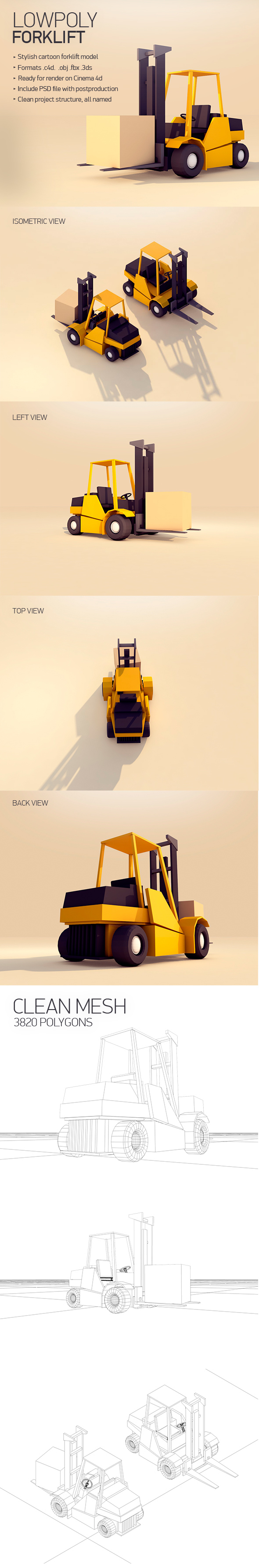 Forklift - 3DOcean Item for Sale