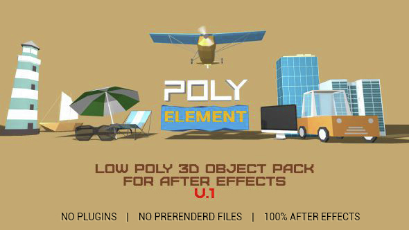 After effects project videohive polyelement 3d object for Habitacion 3d after effects