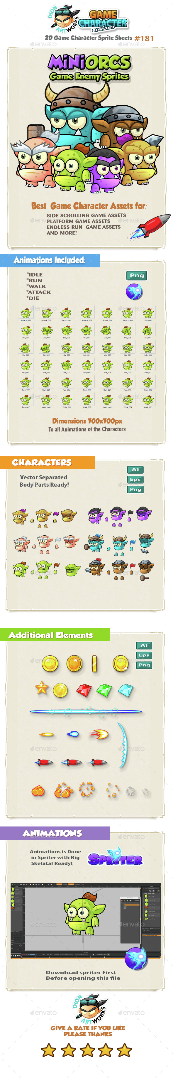 Mini Orcs Game Character Sprites 181 (Sprites)