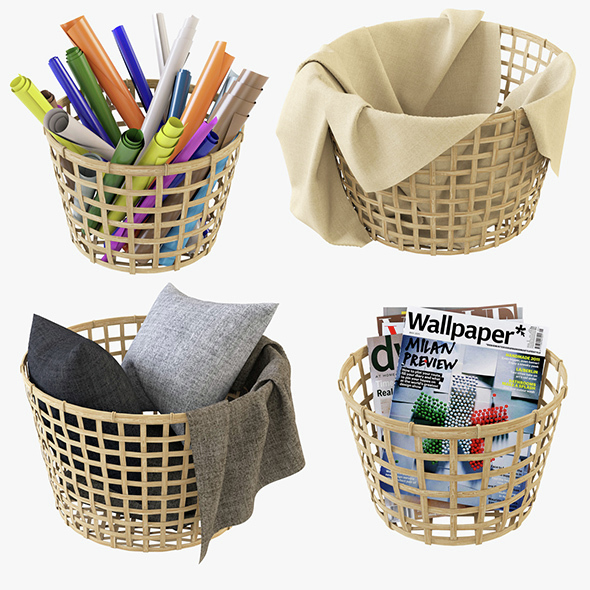 Wicker Basket Ikea Gaddis Set - 3DOcean Item for Sale