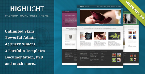 1 presentation.  large preview Highlight   ThemeForest Powerful Premium WordPress Theme