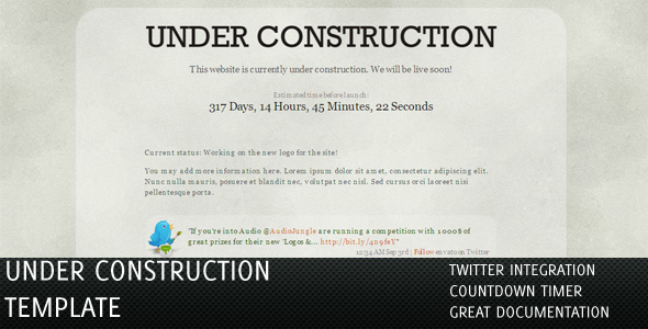Under Construction Pages with Twitter & Countdown - Under construction pages by dracano.