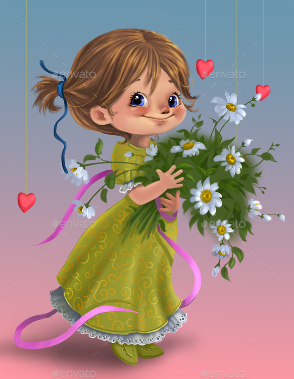 Cute cartoon girl with flowers by Rivusdea