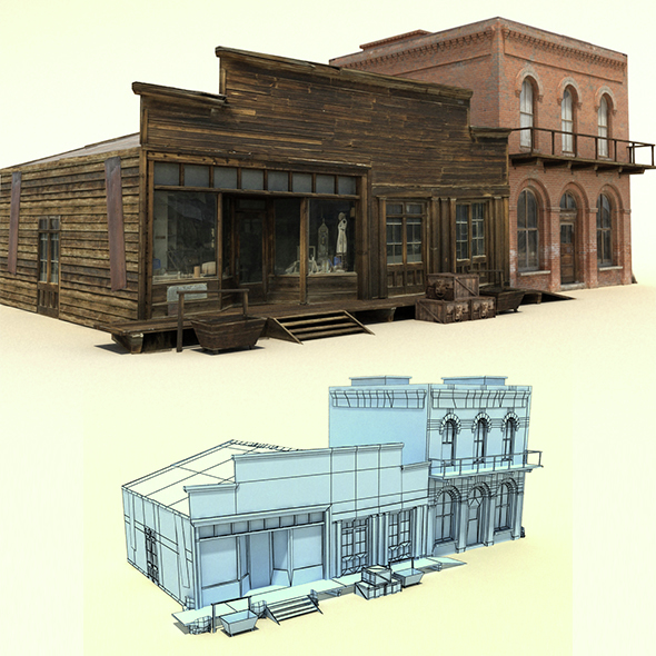 Low Poly Wild West Buildings - 3DOcean Item for Sale