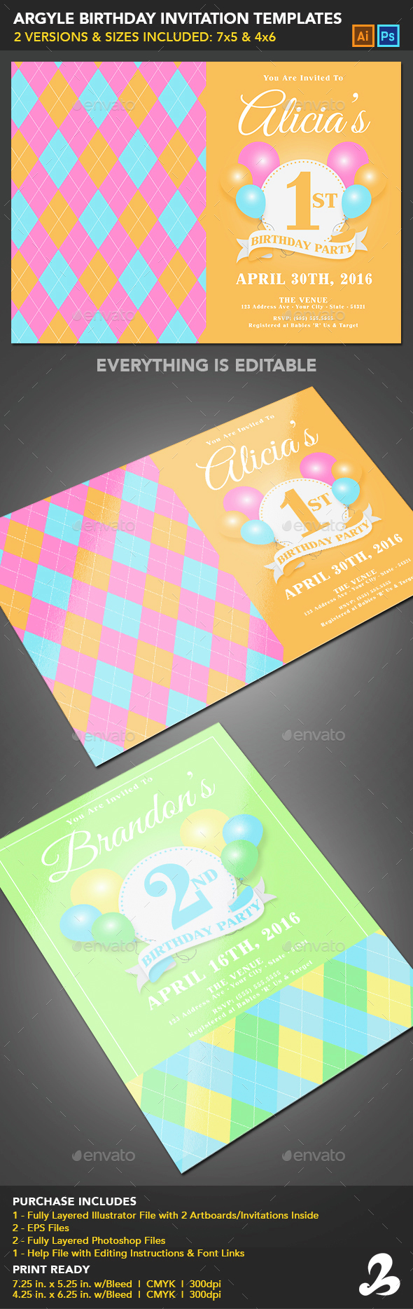 Birthday Invitation Templates - Argyle