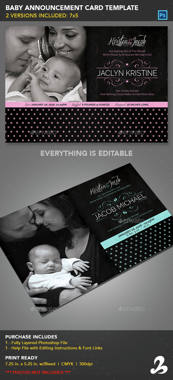 Baby Announcement Card Template