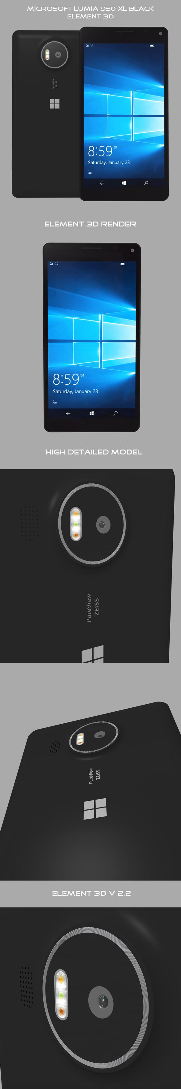 Element 3D Microsoft Lumia 950 Xl Black - 3DOcean Item for Sale