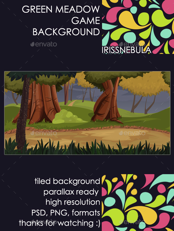 Green Meadow Game Background (Backgrounds)