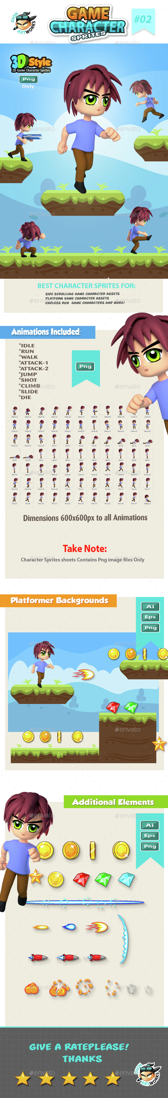 3D Style Game Character Sprite sheets 02 (Sprites)